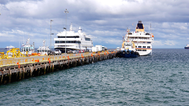 OAT Patagonia trip, Dec 2013.<br /> Punta Arenas, Chile.  Looking back at our boat, the Via Australis (on the left)<br /> from the Customs Building.