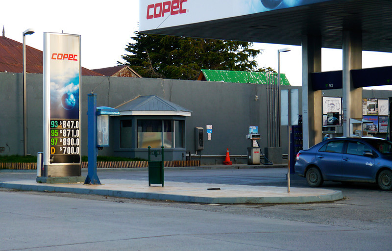 OAT Patagonia trip, Dec 2013.<br /> Puerto Natales, Chile. Gas station near our hotel.  <br /> Comes out to about $5.40 per gallon!