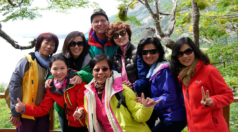 """OAT Patagonia trip, Dec 2013. Parque National Tierra del Fuego, Argentina.  """"Babe Casserole"""". Some of the Asian tourists I met along the way."""