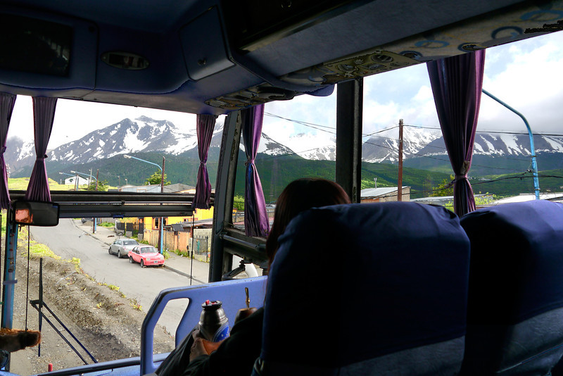 OAT Patagonia trip, Dec 2013.<br /> Ushuaia, view from the bus. Silvia, our OAT main guide, enjoys her Mate.