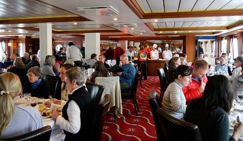 OAT Patagonia trip, Dec 2013.<br /> This portion of the tour took place on the Via Australis boat.<br /> Dining Room.