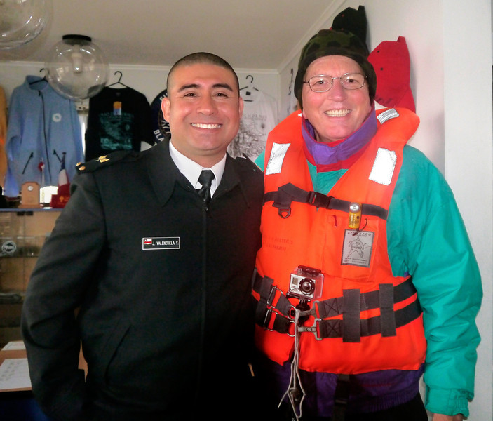 OAT Patagonia trip, Dec 2013.<br /> This portion of the tour took place on the Via Australis boat.<br /> Cape Horn. I get my picture taken with one of the Chilean Navy personnel that works at the lighthouse.