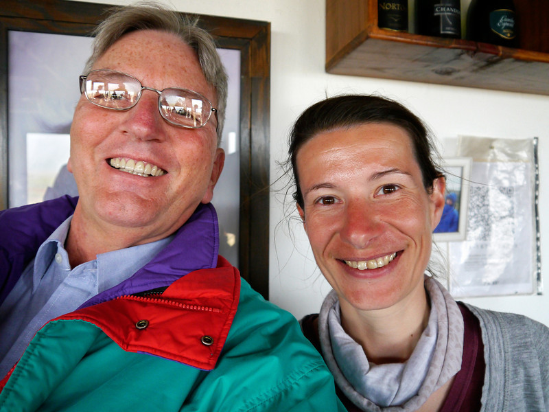 "OAT Patagonia trip, Dec 2013.<br /> We take the scenic route, on an unpaved road, enroute from El Calafate to the Perito Moreno Glacier, Argentina.  We stop at a rather isolated ""Roadhouse"" for refreshments.  Got to take a picture with one<br /> of the girls working there."