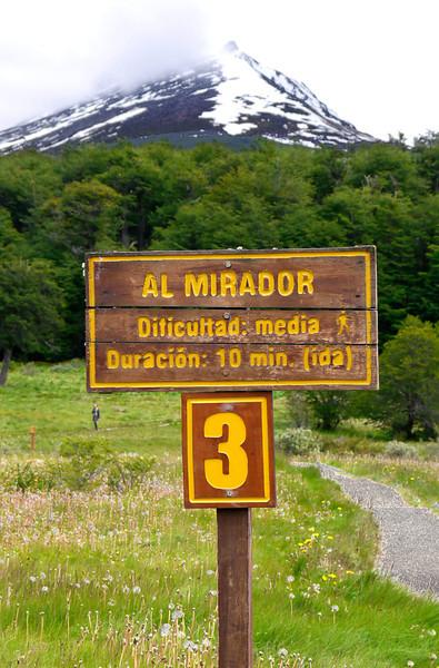 OAT Patagonia trip, Dec 2013.<br /> Ushuaia. Terra del Fuego National Park. A trail marker.
