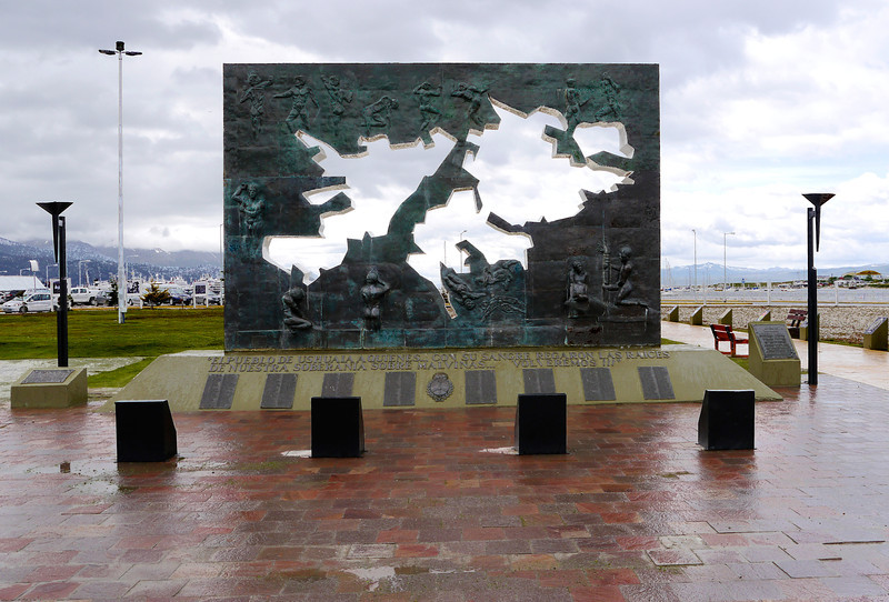 OAT Patagonia trip, Dec 2013.<br /> Ushuaia. The Plaza Malvinas monument representing the map of the Islands, a cenotaph with the names of the 649 Argentines killed in the conflict and an eternal flame.