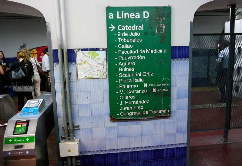 OAT Patagonia trip, Dec 2013.<br /> Buenos Aires subway, Line D, Catherdal station.