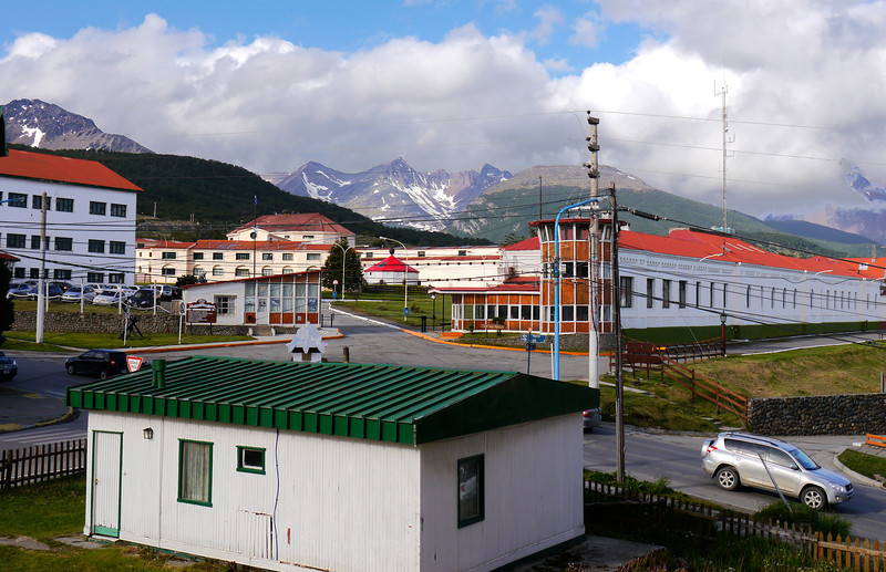 OAT Patagonia trip, Dec 2013.<br /> View from my window in my room in the Cilene Hotel in Ushuaia. The Navy Base and old prison are just across the street.