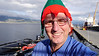 OAT Patagonia trip, Dec 2013.<br /> This portion of the tour took place on the Via Australis boat. We prepare to get under way and depart the dock at Ushuaia. I do a selfie with my Xmas elf hat.