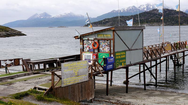 OAT Patagonia trip, Dec 2013.<br /> Ushuaia, Terra del Fuego National Park. Ensenada Bay. A small souvenier shop!  Got my passport stamped here too!