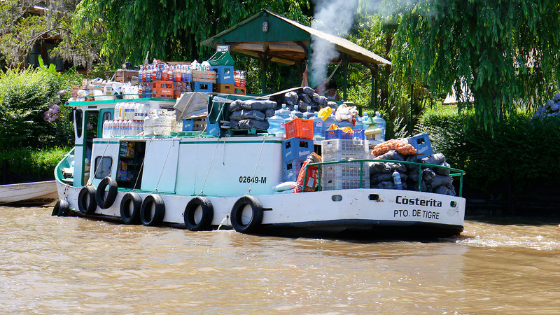 "OAT Patagonia trip, Dec 2013.<br /> Buenos Aires delta area, Tigre.  No cars are allowed on these small delta islands<br /> so all traffic is via boat.  Kind of a resort area for the people of Buenos Aires. This is the supermarket boat.<br /> NOTE:  The following link will not take you to the correct site, you have to include the comma and everything after that in the URL!<br />  <a href=""http://en.wikipedia.org/wiki/Tigre"">http://en.wikipedia.org/wiki/Tigre</a>,_Buenos_Aires"