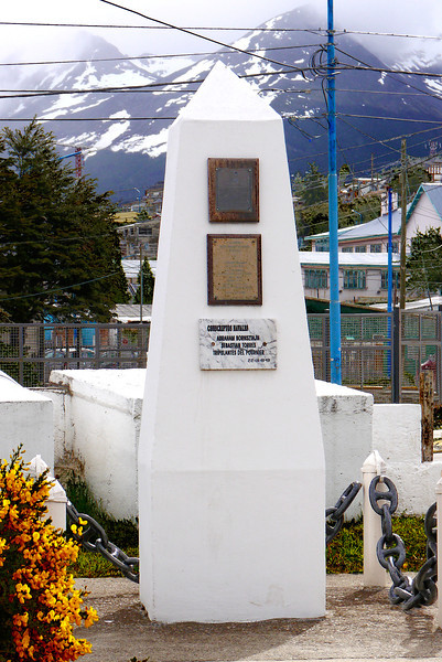 "OAT Patagonia trip, Dec 2013.<br /> Ushuaia Navy Base.  Right across the street from my hotel.  Not sure what this monument is for- the top 2 inscription plates are too weather beaten to read and translate.  The bottom one says ""Naval Conscripts"" and then apparently two names and then Crew of Fournier 22-IX-1949.<br /> (Note- the Fournier was an Argentine navy ship that sunk near Ushuaia on 22 Jan 1949)"
