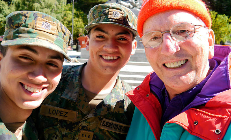 OAT Patagonia trip, Dec 2013.<br /> Punta Arenas, Chile. Came across two Chilean Army guys in the main square- had to have my picture taken with them!