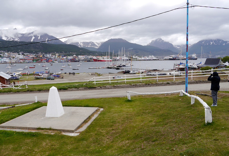 OAT Patagonia trip, Dec 2013.<br /> Not sure what the small white obelisk represents.  No inscription.  This is at the old Ushuaia Airport.