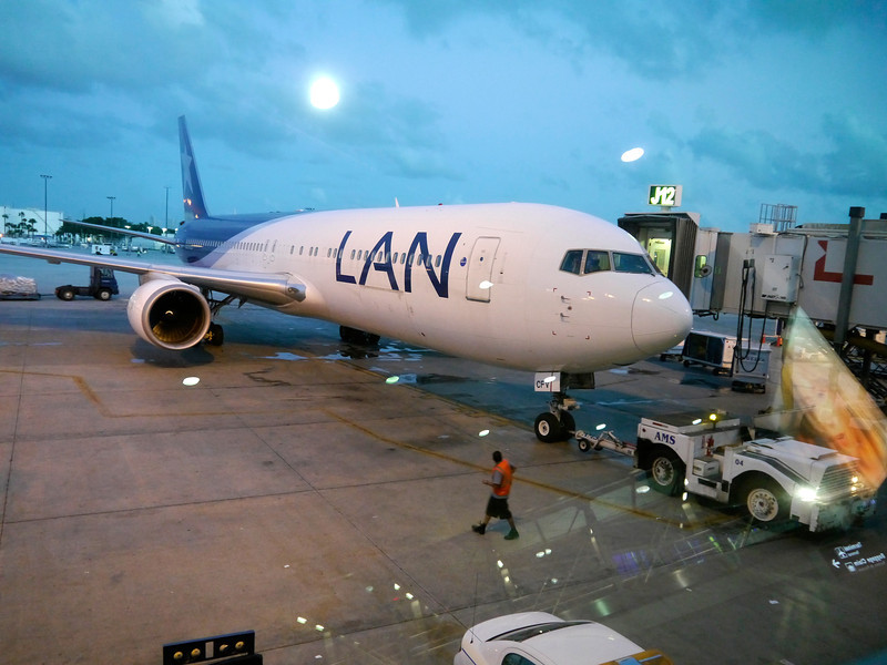 OAT Patagonia trip, Dec 2013.  LAN plane awaiting me in Miami.