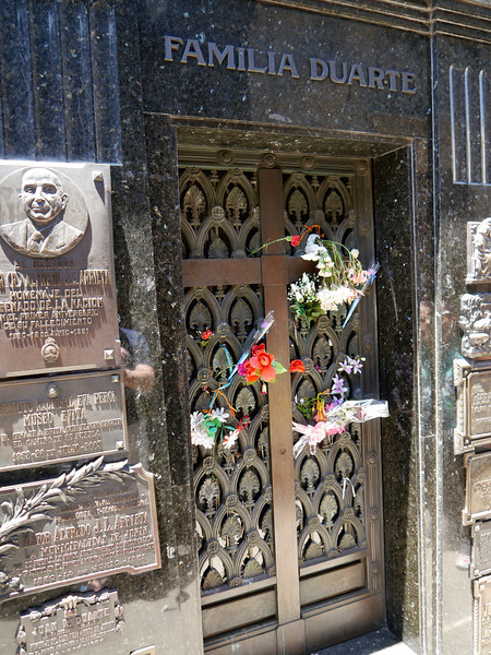 OAT Patagonia trip, Dec 2013.<br /> The Recoleta Cemetery, located in the northern part of barrio Recoleta in Buenos <br /> Aires, is most famous for being the burial ground of Evita Duarte de Peron, but it <br /> actually holds many famous military leaders, presidents, scientists, poets and other <br /> important or wealthy Argentineans.