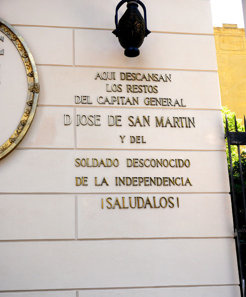 OAT Patagonia trip, Dec 2013. One of the inscriptions on the outside of the Buenos Aires Metropolitan Cathedral (Spanish: Catedral Metropolitana de Buenos Aires).  <br /> It is the main Catholic church in Buenos Aires, Argentina. It is located in the city center, overlooking Plaza de Mayo, on the corner of San Martín and Rivadavia streets, in the San Nicolás neighborhood. It is the mother church of the Archdiocese of Buenos Aires. This is where Jorge Bergoglio presided over daily Masses before he became Pope Francis in March 2013.
