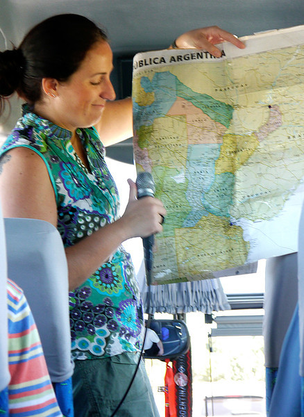 OAT Patagonia trip, Dec 2013.<br /> Silvia showing us where we are going while on the bus enroute<br /> to the Buenos Aires delta area.