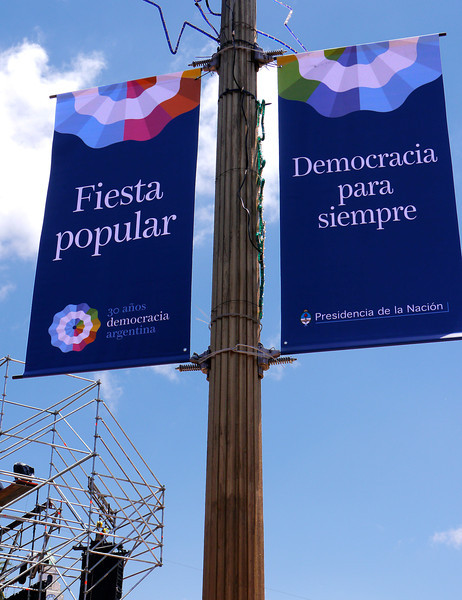 OAT Patagonia trip, Dec 2013.  Festival.  Democracy Forever.