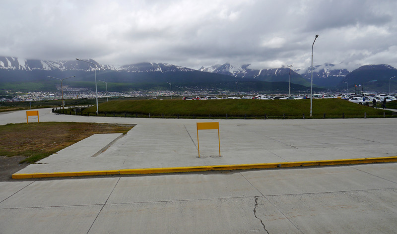 OAT Patagonia trip, Dec 2013.<br /> View as you exit the airport terminal at Ushuaia.