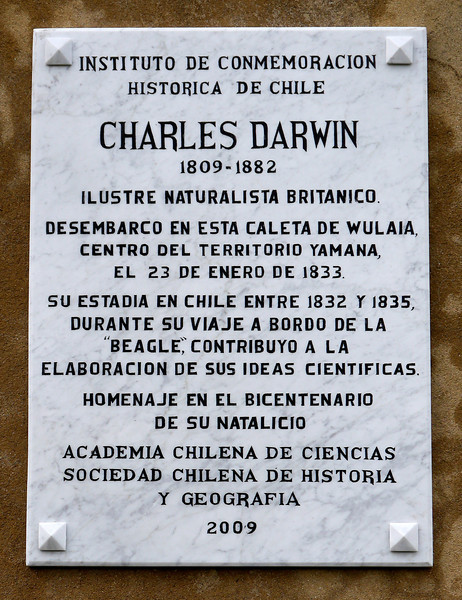 """OAT Patagonia trip, Dec 2013.<br /> This portion of the tour took place on the Via Australis boat.<br /> Wulaia Bay.  I believe this plaque was on the building. Rough translation:<br /> """"Institute for the Historical Commemoration of Chile.<br /> Charles Darwin  1809-1882<br /> Illustrious British Naturalist.<br /> Landing in this cove Wulaia, center of Yamana territory, on January 23, 1833.<br /> His stay in Chile between 1832 and 1835, during the voyage of the """"Beagle"""", contributed to the elaboration of their scientific ideas.<br /> Tribute on the bicentenary of his birth.<br /> Chilean Academy of Sciences.<br /> Chilean Society of History and Geography. 2009."""""""