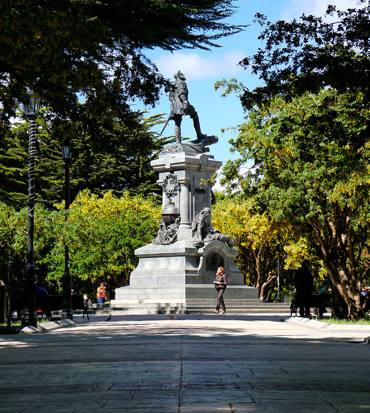 OAT Patagonia trip, Dec 2013.<br /> Punta Arenas, Chile. Monument to Magellan in main square.
