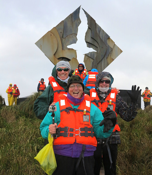 With Charlie & Deb behind me, in front of the monument at Cape Horn.