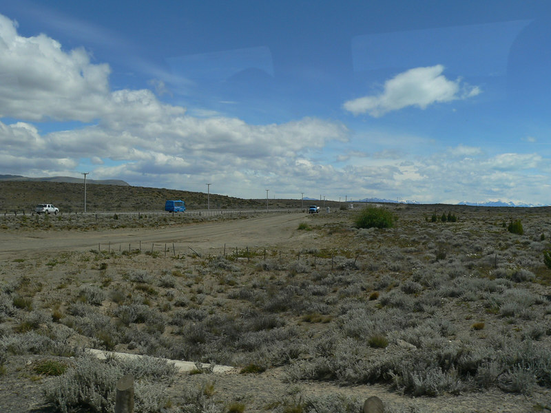 Looking out from the airport at the barren landscape of El Calafate