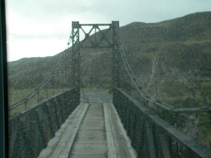 barely a one-car-wide bridge.