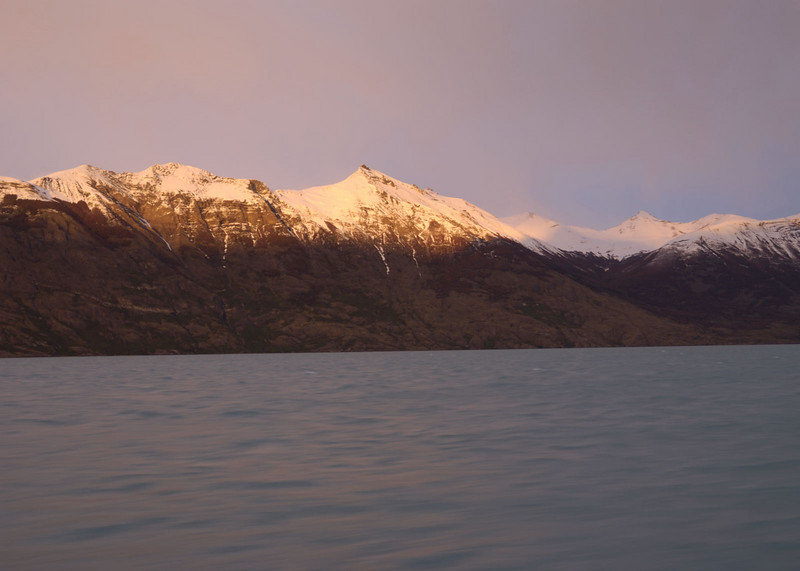 Lago Argentino, from a boat, as dawn breaks
