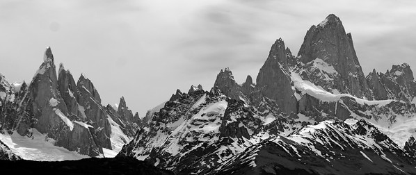 Cerro Torre (3,128m, or 10,280 feet) and Cerro Fitz Roy (3,375 m. or 11,073 feet)