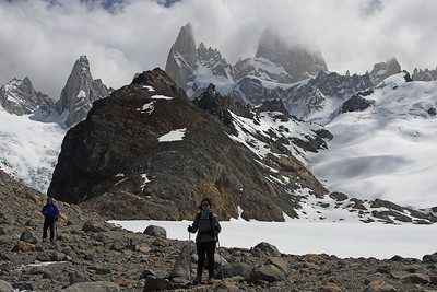 Laguna de los Tres is a pretty harsh place- the wind was hauling and at times it was blowing sand that stung even through the layers of GoreTex.