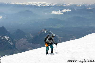 Final steps just before the summit of Vulcan Villarica in the Lakes District, Chile.