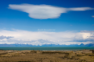 Surreal colors of the Lago Argentino as seen from route # 40 at the east shore of the lake, Patagonia, Argentina