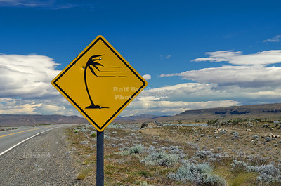 Strong winds in the pampa - A traffic sign warning of gusty winds on route # 40 near Lago Argentino in Patagonia, Argentina