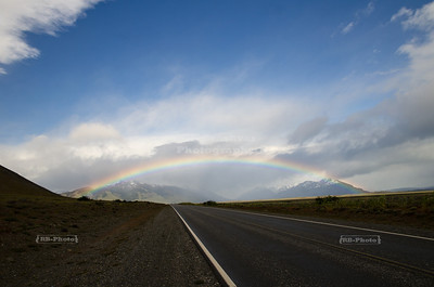 Rainbow over provincial route # 11 between El Calafate and Glaciers National Park, Patagonia, Argentina