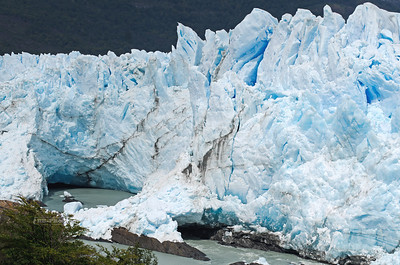 The narrow passage where the Perito Moreno Glacier touches the Magellan Peninsula. When this passage gets blocked by ice, the water level on the southern arms of Lago Argentino rises dramatically