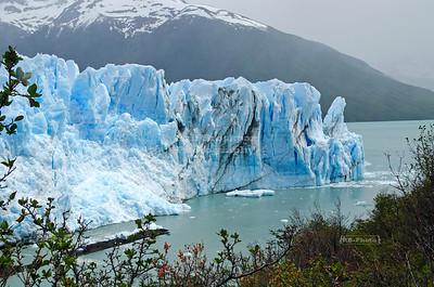 The narrow passage between the Perito Moreno Glacier and the Magellan Peninsula gets blocked every 4-5 years. Los Glaciares National Park, Patagonia, Argentina