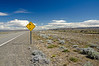 Traffic sign warning for strong winds on route # 40 near Lago Argentino in southern Patagonia, Argentina