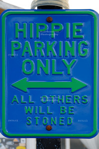 Hippie Parking Only sign in front of a cafe along the road between Punta Arenas and Puerto Natales on the Chilean side of southern Patagonia.