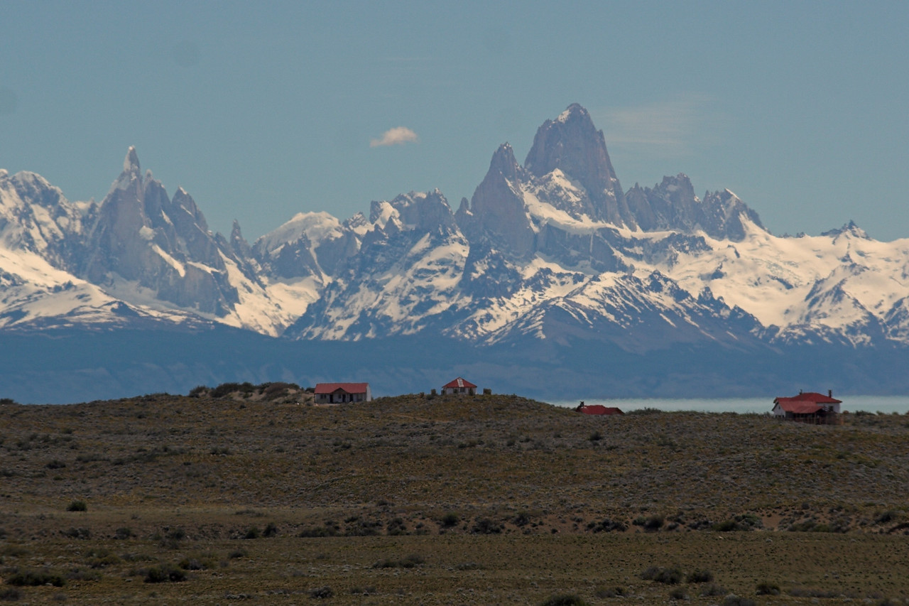 Driving around Lago Viedma.  This estancia has some view...  This is Cerro Torre and Cerro Fitz Roy in the backdrop