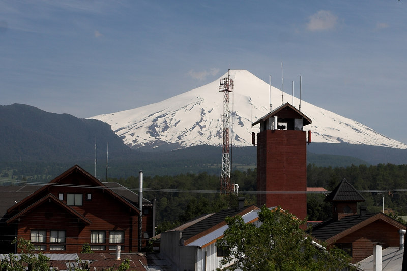 Volcanoe Villarica as seen from the town of Pucon.