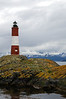 Les Eclaireurs Lighthouse on a small islet, 5 nautical miles east of Ushuaia in the Beagle Channel, Tierra del Fuego, southern Patagonia, Argentina