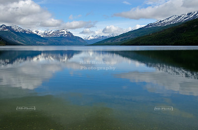 Lago Roca, Tierra Del Fuego National Park, Ushuaia, Patagonia, Argentina. The mountains in the background belong to Chile