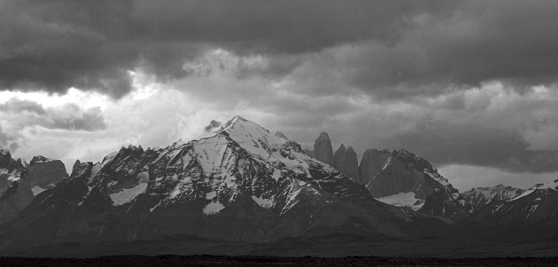 This is Paine Massif lit by moonlight from behind the cloud cover.  In reality it was almost pitch-dark when I took this shot.