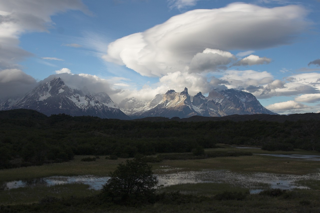 Cuernos del Paine from the road between Lago Grey and Lago Pehoe