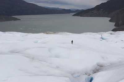 Ivo walking on the glacier's surface.  Glacier Grey is 100% ice (no snow cover); therefore you can see all the crevasses and it is safe to walk alone