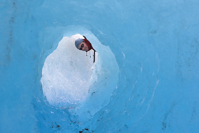 Looking through the ice cave