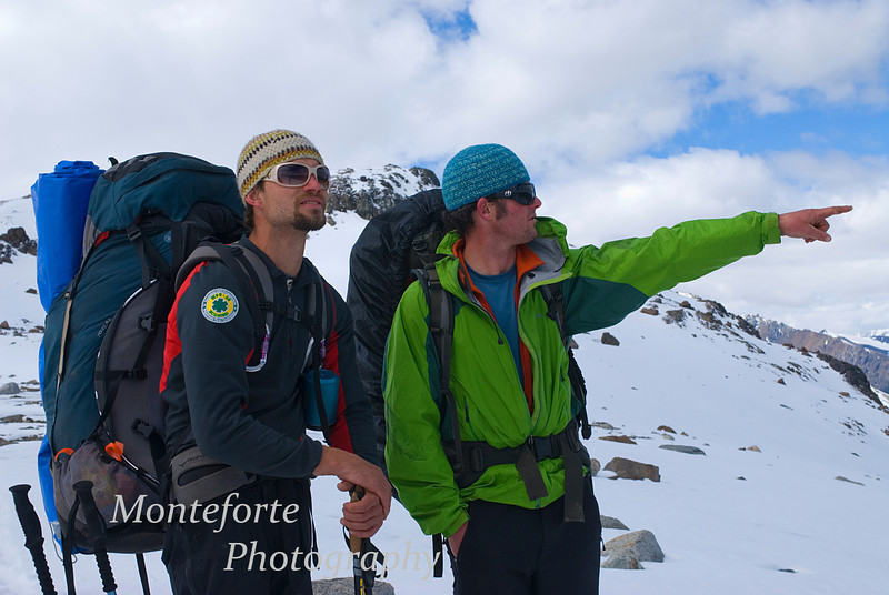 Jonathan pointing out features to Toby near the summit of Cerro Castillo, Patagonia Chile