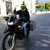 Motorcyclist wearing a GoPro while traveling in Punta Arenas.