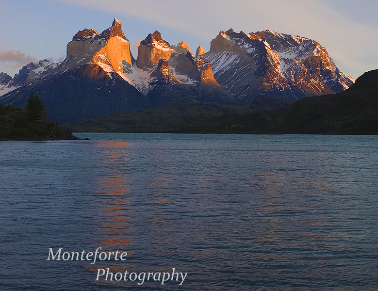 Sunrise over Lago Pehoe and the Paine Massif, Torres del Paine National Park, Chile